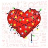 Valentine-giftkaart met hart en lantaarns Royalty-vrije Stock Afbeeldingen