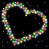 Valentine-giftkaart met hart en lantaarns Stock Afbeeldingen