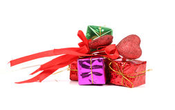 Valentine gifts. Beautiful shot of valentine gifts on white background Royalty Free Stock Photos