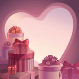 Valentine gifts template. Valentine gifts stack design template Royalty Free Stock Photo