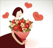 Valentine Girl. Stylized woman with bouquet of roses and hearts Royalty Free Stock Photo