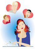 Valentine girl. S's thoughts stock illustration