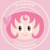 Valentine girl. A Valentine Card showing a romantic girl with pink hair on a pink background and a small heart on her hair Royalty Free Stock Images