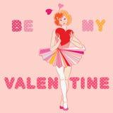 Valentine girl clown Stock Photography