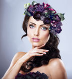 Valentine. Girl in Colorful Wreath of Flowers. Valentine. Woman in Colorful Wreath of Flowers Royalty Free Stock Photo