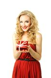 Valentine girl with gift Stock Photos