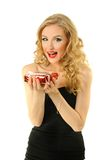 Valentine girl with gift Royalty Free Stock Photography