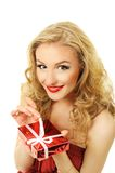 Valentine girl with gift Stock Image