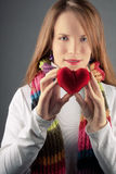 Valentine girl with heart stock photo