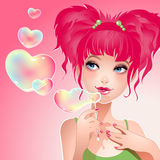Valentine girl with heart bubbles Stock Images