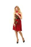 Valentine girl with rose Royalty Free Stock Photo