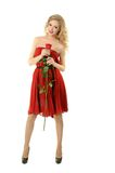 Valentine girl with rose Stock Image