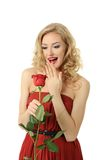 Valentine girl with rose Royalty Free Stock Images
