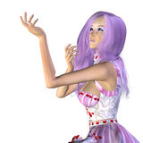 Valentine girl with violet hair Stock Photos