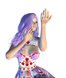 Valentine girl with violet hair Royalty Free Stock Photos