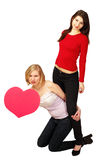 Valentine girls message board Stock Images