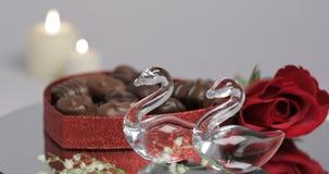 Valentine Glass Swans Chocolate Rose stock videobeelden