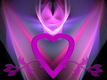 Valentine glow. This romantic (Valentine) design has a beautiful blue/pink/purple glowing background. The big pink heart and stylish flowers, combined with the Royalty Free Stock Image