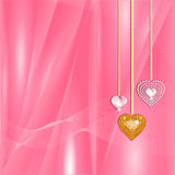 Valentine gold and diamond hearts. Sparkling heart shaped diamond and mosiac gold pendants on a pink silk backround Stock Illustration