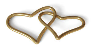 Valentine: Gold Hearts Stock Images