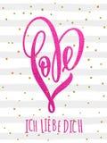 Valentine gold love heart glitter pattern card Stock Photography