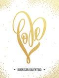 Valentine gold love heart glitter pattern card Royalty Free Stock Photos