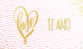 Valentine gold love heart glitter pattern card Royalty Free Stock Photography