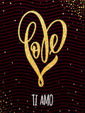 Valentine gold love heart glitter pattern card Stock Photos