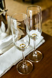 Valentine. Gold ring in a glass Weiss wedding day Stock Photo