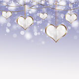 Valentine Golden Hearts Royalty Free Stock Photos