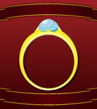 Valentine golden ring postcard Royalty Free Stock Images