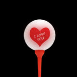 Valentine golfer. Close-up of valentine heart overlaid onto golfball Stock Photography