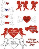 Valentine Graphics. Valentine symbols ideal for Valentine's day, weddings, birthdays, and anniversary greeting cards and promotions Stock Image