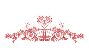 Valentine Greeting blom- prydnader och hjärta Royaltyfria Bilder