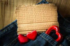 Valentine greeting on blue jeans Royalty Free Stock Photos