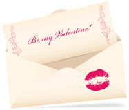 Valentine greeting card. Vector valentine envelop with greeting card with kiss on a white background Royalty Free Stock Photo