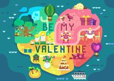 Valentine Greeting Card alegre ilustração royalty free