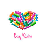 Valentine greeting card with candy Stock Images