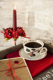 Valentine or birthday surprise greeting card and c. Valentine or birthday surprise gift card and cup of coffee on wooden tray Royalty Free Stock Image