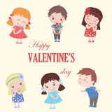 Valentine greeting card with cute cartoon isolated boy and girl Stock Images