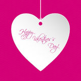 Valentine greeting card design with white heart Stock Image