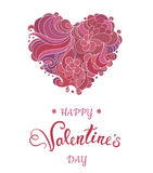 Valentine greeting card with floral ornate heart and lettering Stock Photography