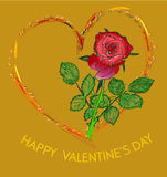 Valentine greeting card with hand drawn red rose Stock Image