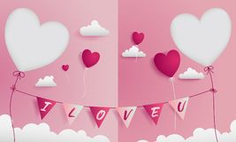 Valentine greeting card has 2 die-cuts on left and right for a sweet couple Royalty Free Stock Photo