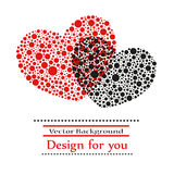 Valentine greeting card with Heart made of red and black circles Stock Photography