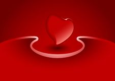 Valentine greeting card with heart in red color, vector illustra Stock Image
