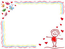 Valentine Greeting Card with Joyful Girl Royalty Free Stock Images