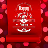 Valentine greeting card, love message on red ribbon. On boken background Stock Photo