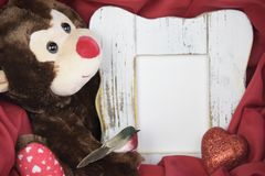 Valentine greeting card monkey and bird. Valentine card monkey and bird and hart and frame for text stock images