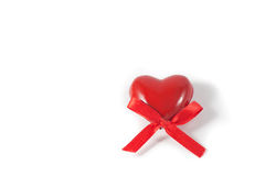 Valentine greeting card with red heart on white background Royalty Free Stock Photography